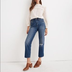 Classic Straight Jeans Jade Wash: Knee-Rip Edition